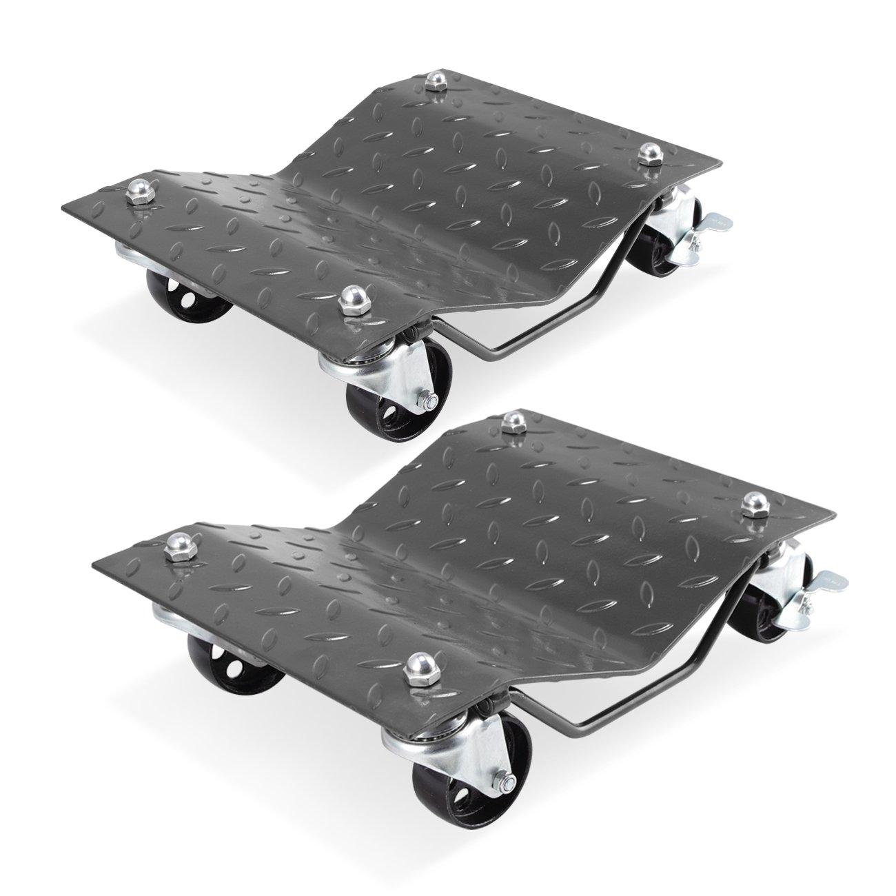 ARKSEN 2 Pcs 1500LB Set Dollies Car Auto Repair Dolly Tire Skates Vehicle Moving Diamond w/Wheels & Lock, Gray