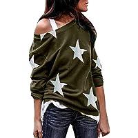 007XIXI Womans Blouses on Sale Women Long Sleeve Star Print Off Shoulder Plus Size Shirts Loose Casual Blouses