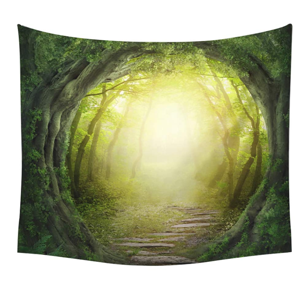 Enchanted Fairy Old Tree Opening Hole Full Moon Photography Picture Print Polyester Cloth Tapestry Wall Hanging Mural for Kids Bedroom 59x51 inches