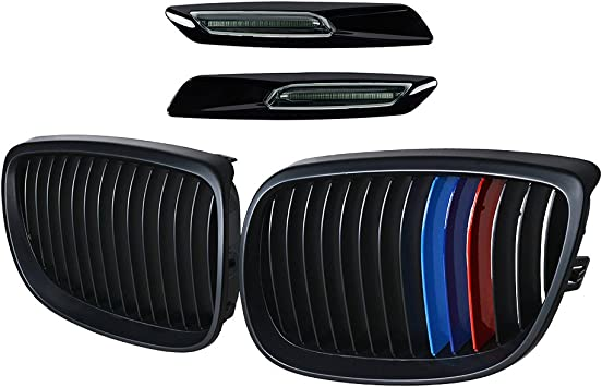 Left Right Front Bumper Kidney Grille Smoked Lens LED Turn Signal Side Marker Light Compatible with 2007-2010 E92 E93