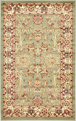 Unique Loom 3120291 Area Rug, 3' 3 x 5' 3, Light Green (Agra Collection)