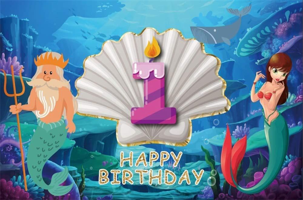 Cassisy 1,5x1m Vinilo 1er cumpleaños Telon de Fondo Feliz CUMPLEAÑOS Under Sea World Sirena Fondo de Pantalla de la Vela Fondos para Fotografia Party ...