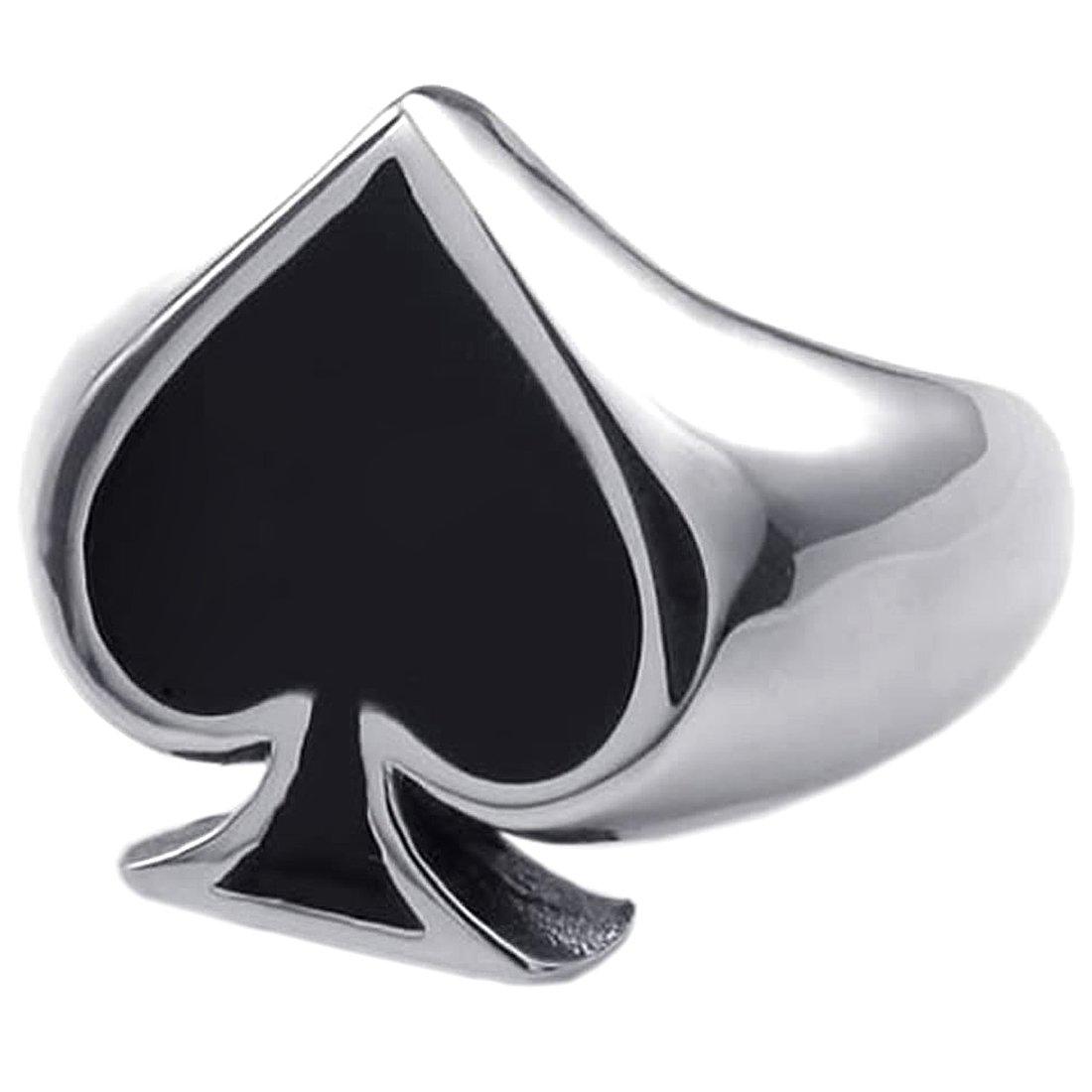 TOOGOO Joya Anillo Hombre Mujer Plata Negro Picas de Poker Acero Inoxidable Anillos Naipe 18.2 mm con Bolsa de Regalo