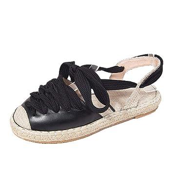 2ec8ac672691 Women s Sandals Shoes Lace-up Espadrilles Buckle Flat Slope Round Peep-Toe Flip  Flops