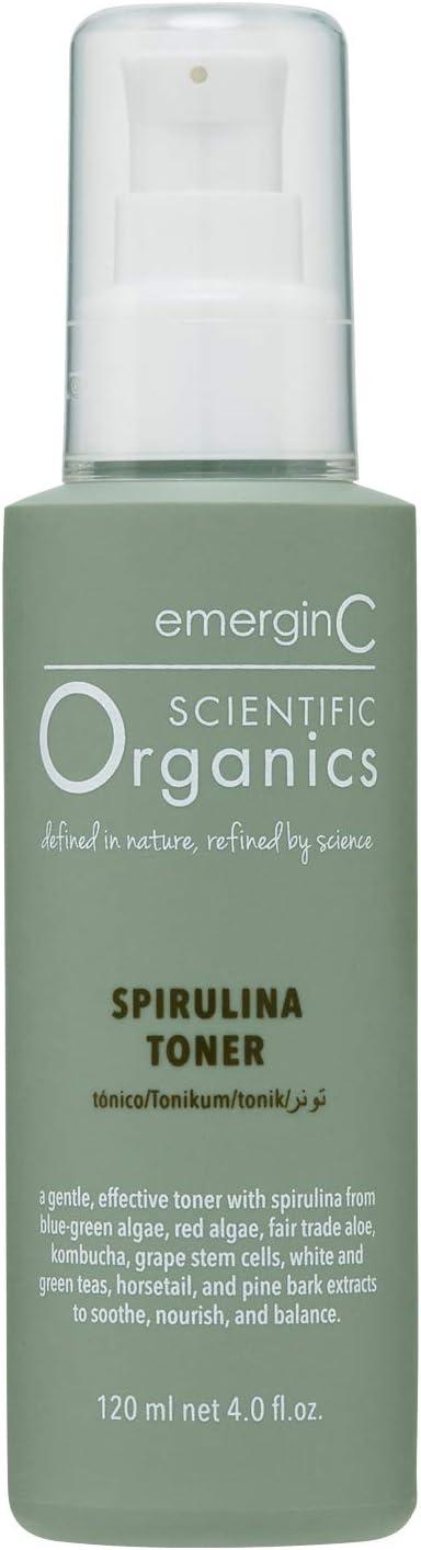 emerginC Scientific Organics Spirulina Toner - Gentle + Effective Toner for Face with Plant Stem Cells + Witch Hazel (4 oz, 120 ml)
