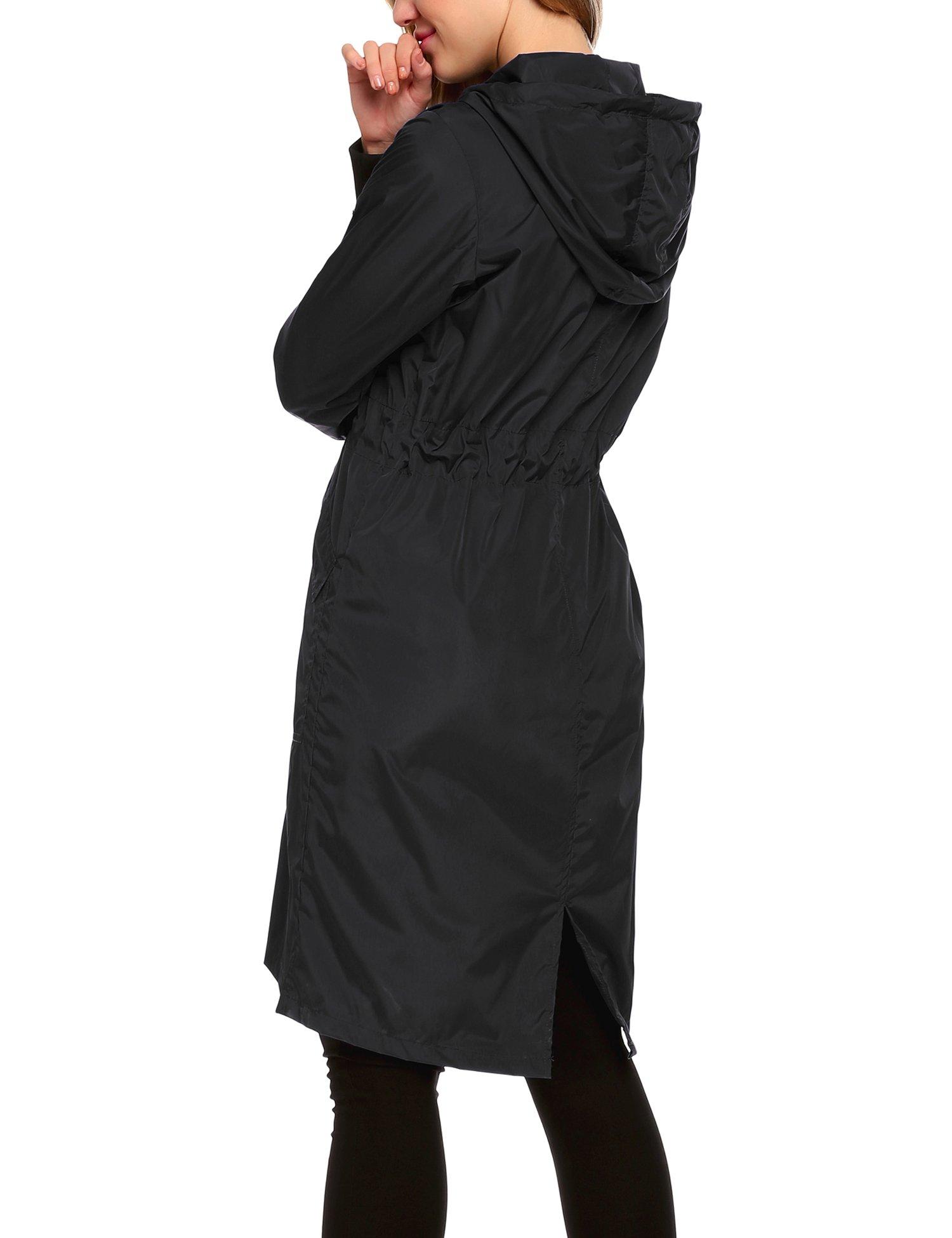 Zeagoo Women's Waterproof Front-Zip Lightweight Hoodie Hiking Cycling Outdoor Raincoat Active Jacket,Black,XXL by Zeagoo (Image #5)