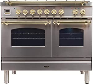 Ilve UPDN100FDMPI Nostalgie Series 40 Inch Dual Fuel Convection Freestanding Range, 5 Sealed Brass Burners, 4 cu.ft. Total Oven Capacity in Stainless Steel, Brass Trim (Natural Gas)