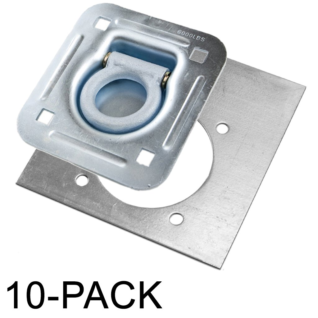 Recessed D-Ring 6,000 lb. Cap. Tiedown w/ Backing Plate - 10 pack