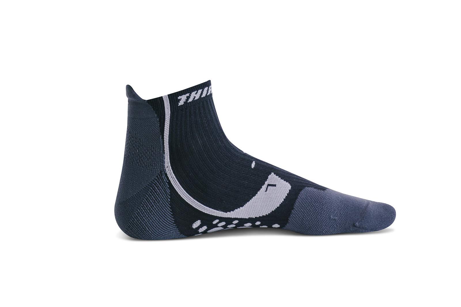 Thirty 48 Compression Low-Cut Running Socks for Men and Women (Small - Women 5-6.5 // Men 6-7.5, [1 Pair] Black/Gray)