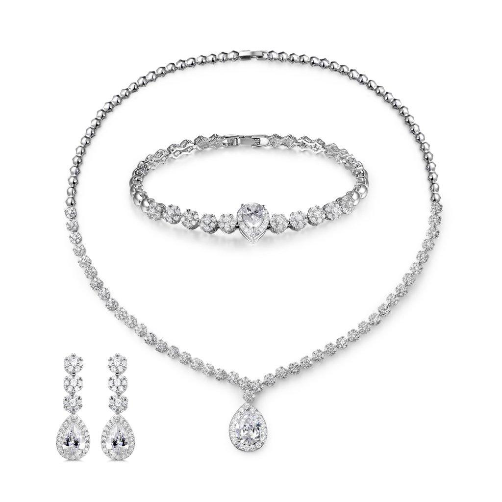 MASOP Bling Crystal Bridal Wedding Jewelry Sets for Women Short Necklace Bracelet Dangle Earrings