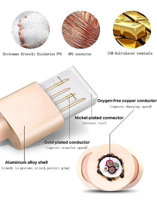 Zeuste Micro USB carga cable Nylon para android Dorado (3 piezas 1.8M): Amazon.es: Electrónica