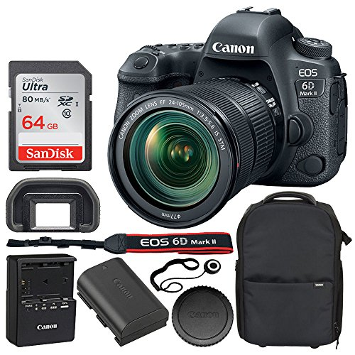 Canon EOS 6D Mark II Digital SLR Camera + Canon EF 24-105mm f/3.5-5.6 is STM Lens + 64GB SDXC Memory Card + Series 1 Trolley Backpack Case with Wheels (Black) + Lens Cap Holder – Full Bundle