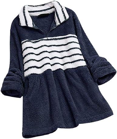 Terciopelo Túnica Tops Mujeres Manga Larga Raya Estampado Color Bloque Invierno Básico Camisas Tallas Grandes Henley Camisa Vestidos M-5XL: Amazon.es: Ropa y accesorios
