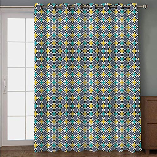 - Blackout Patio Door Curtain,Trellis,Victorian Baroque Ancient Pattern in Vibrant Colors Aged Dated Design,Purple Yellow Sky Blue,for Sliding & Patio Doors, 102
