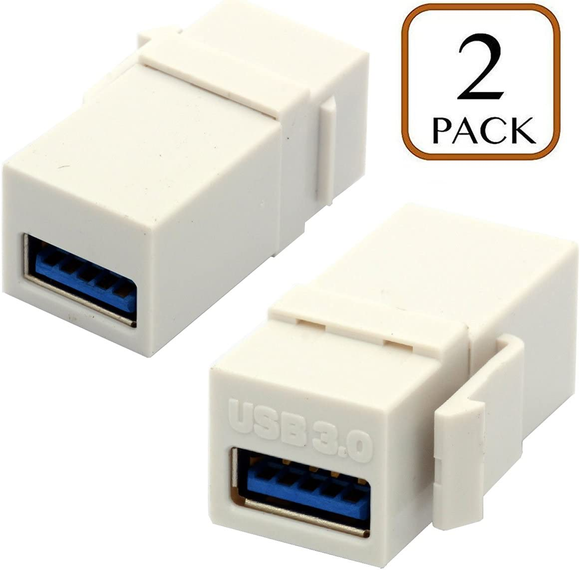 USB 2.0 Female to Female Straight in-Line Coupler Insert Wall Plate Connectors Adapter-Black Poyiccot USB 2.0 Keystone Jack, 2-Pack