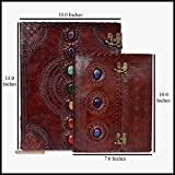 Leather Journal Book Seven Chakra Medieval Stone Notebook with Three Stone Medieval Chakra Handbook Embossed Handmade Book of Shadows Notebook Office Diary College Book Poetry Book Sketch Book