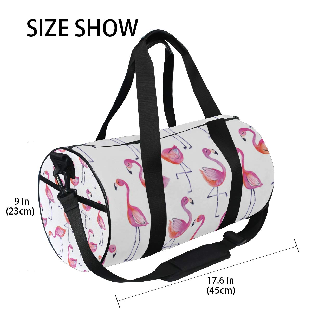 Sports Gym Duffel Barrel Bag Fancy Cute Flamingos Watercolor Travel Luggage Handbag for Men Women