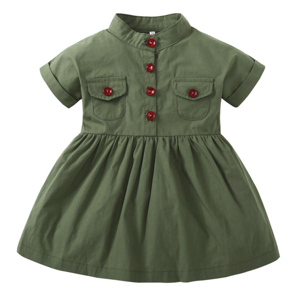 Wesracia Infant Baby Girl Army Green Short Sleeve Princess Dresses with Pocket