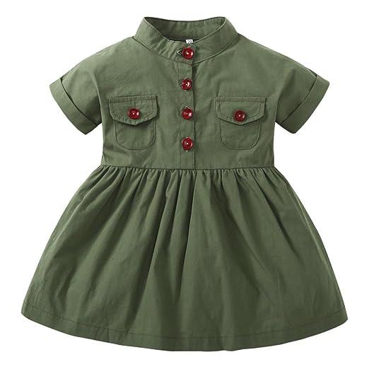 e631b2231fab Amazon.com  Wesracia Infant Baby Girl Army Green Short Sleeve ...
