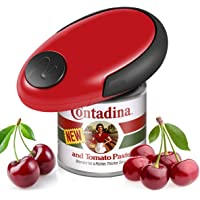 Electric Can Opener, Restaurant Can Opener, Full - Automatic Hands Free Can Opener, Food-Safe and Battery Operated Handheld Automatic Electric Can Opener (Red)