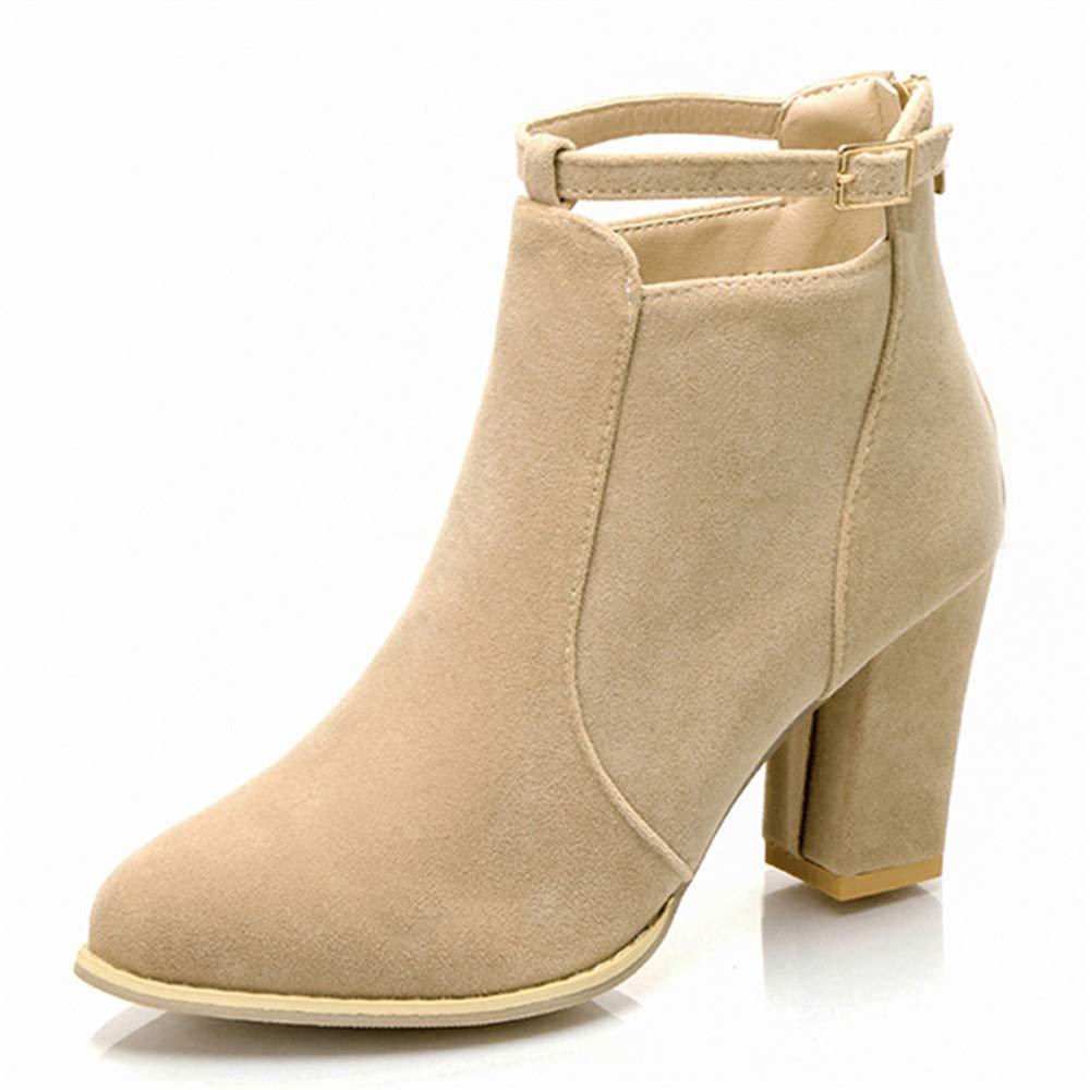 ZHRUI Stiefel Damen Schuhe Damenstiefel Schnalle Damen Gürtel Faux warme Stiefel Stiefeletten High Heels Martin Stiefel Elegant Keilabsatz (Farbe   Beige Größe   CN 41=EU 42)