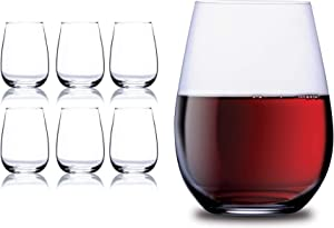Chef's Star Elegant Glass Stemless Wine Glasses for Red or White Wine Heavy Base Ideal For Cocktails & Scotch Perfect For Homes & Bars 17 oz, Set of 6