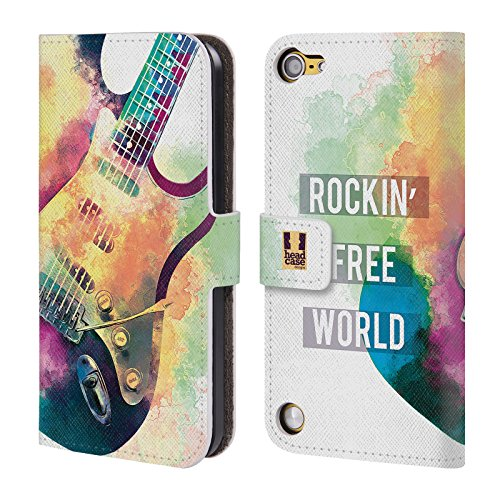 Head Case Designs Chitarra Elettrica All About Music Cover a portafoglio in pelle per iPod Touch 5th Gen / 6th Gen