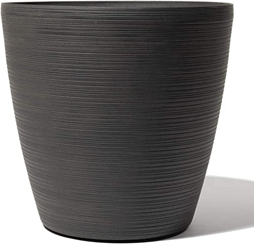 Garden Planter Cone Plant Pot Patterned Eclipse Grey Indoor Lightweight Outdoor