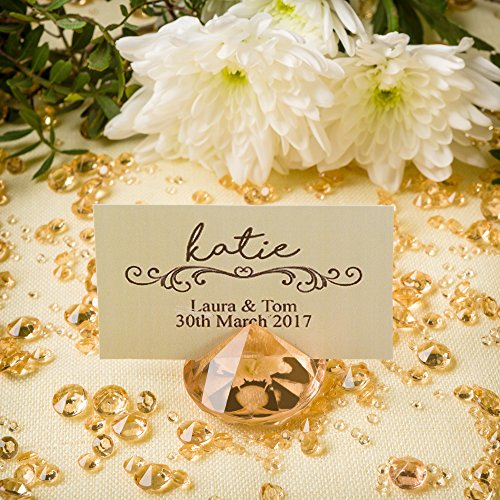 GOLD Diamond Table Number & Name Place Card Holder (20 Pieces) and Diamond Table Confetti (with over 6,000 diamonds) Party and Wedding Table Decorations Set by Pretty Display