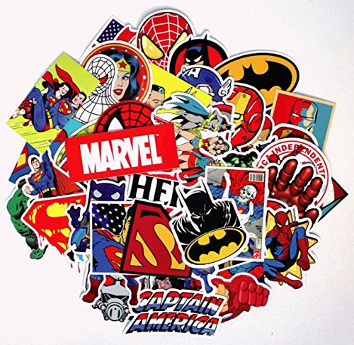 Marvel and DC Superhero Logos and Characters Fun Sticker Decal Set of 50 Assorted Stickers