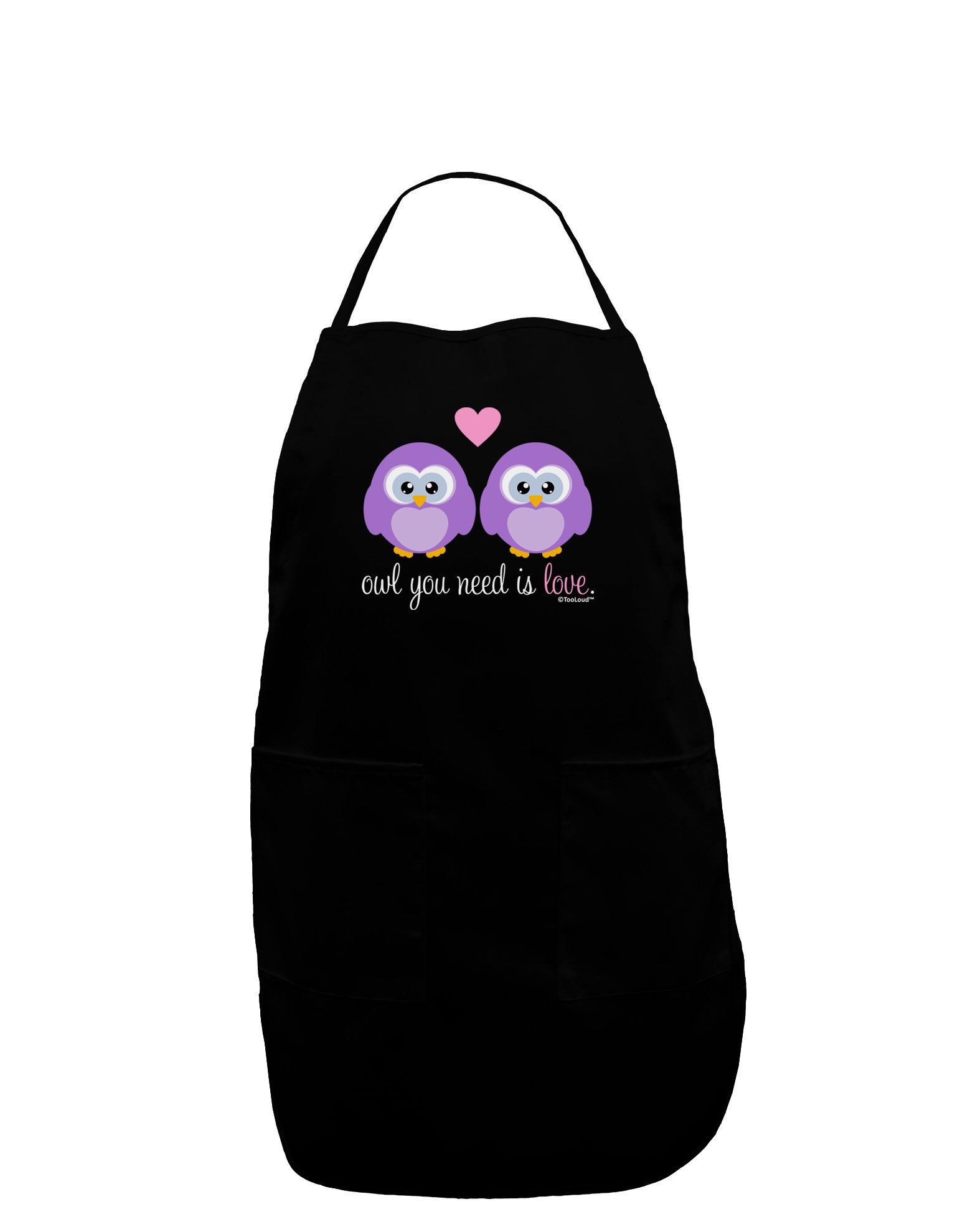 TooLoud Owl You Need Is Love - Purple Owls Dark Adult Apron - Black - One-Size
