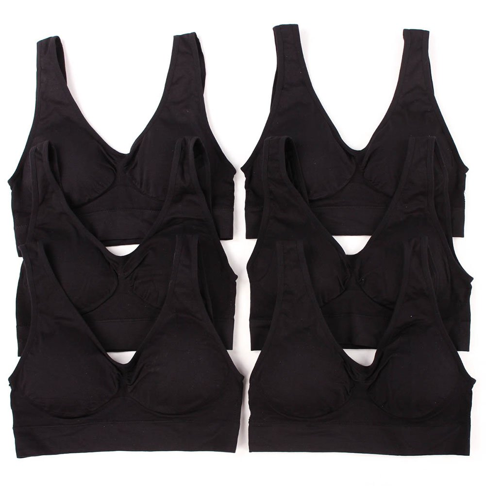 Sofra Women's 6 Pack of Seamless Padded Sports Bras-All Black,One Size