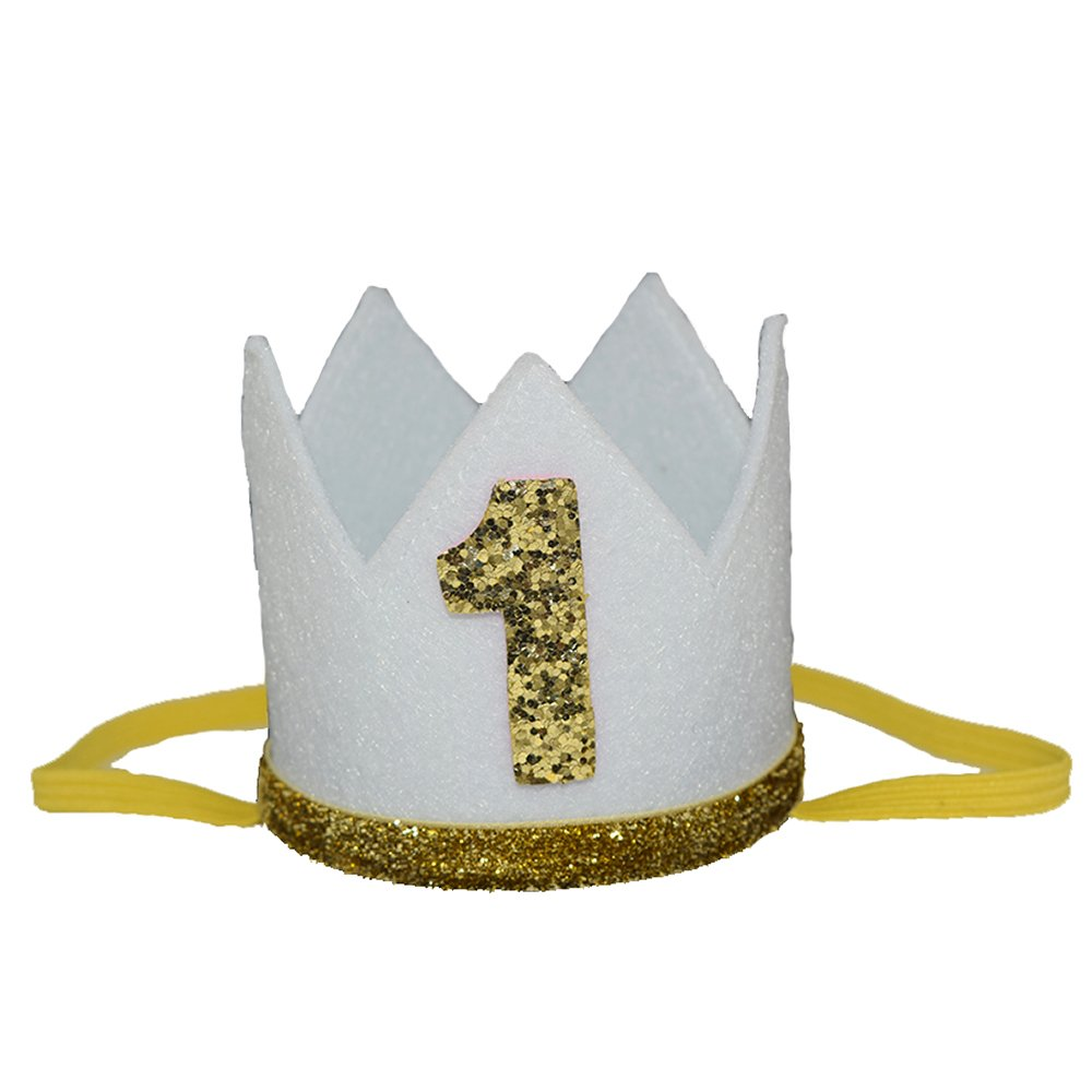 "Petsidea Pet First 1 2 Birthday Crown Hat for Dog Doggy Cat Kitty Pig Birthday Party Photo Prop (White ""1"")"