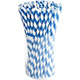 Paper Drink Straws Biodegradable - 100 Pcs for Gender Reveal Party Supplies, Christmas Decorations Bulk Straws for Party…
