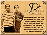 50th Golden Wedding Anniversary Present - Personalized Engraved Photo (12x9 inches)