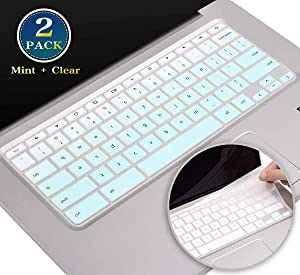 2 Pack HP Chromebook x360 Keyboard Cover 11.6 Compatible HP Chromebook 14 G2 G3 G4 G5 Series, HP Chromebook 14-ak 14-ca 14-db 14-X Series, Chromebook 11 G4, G5, G6 EE Series(Ombre Mint+Clear)