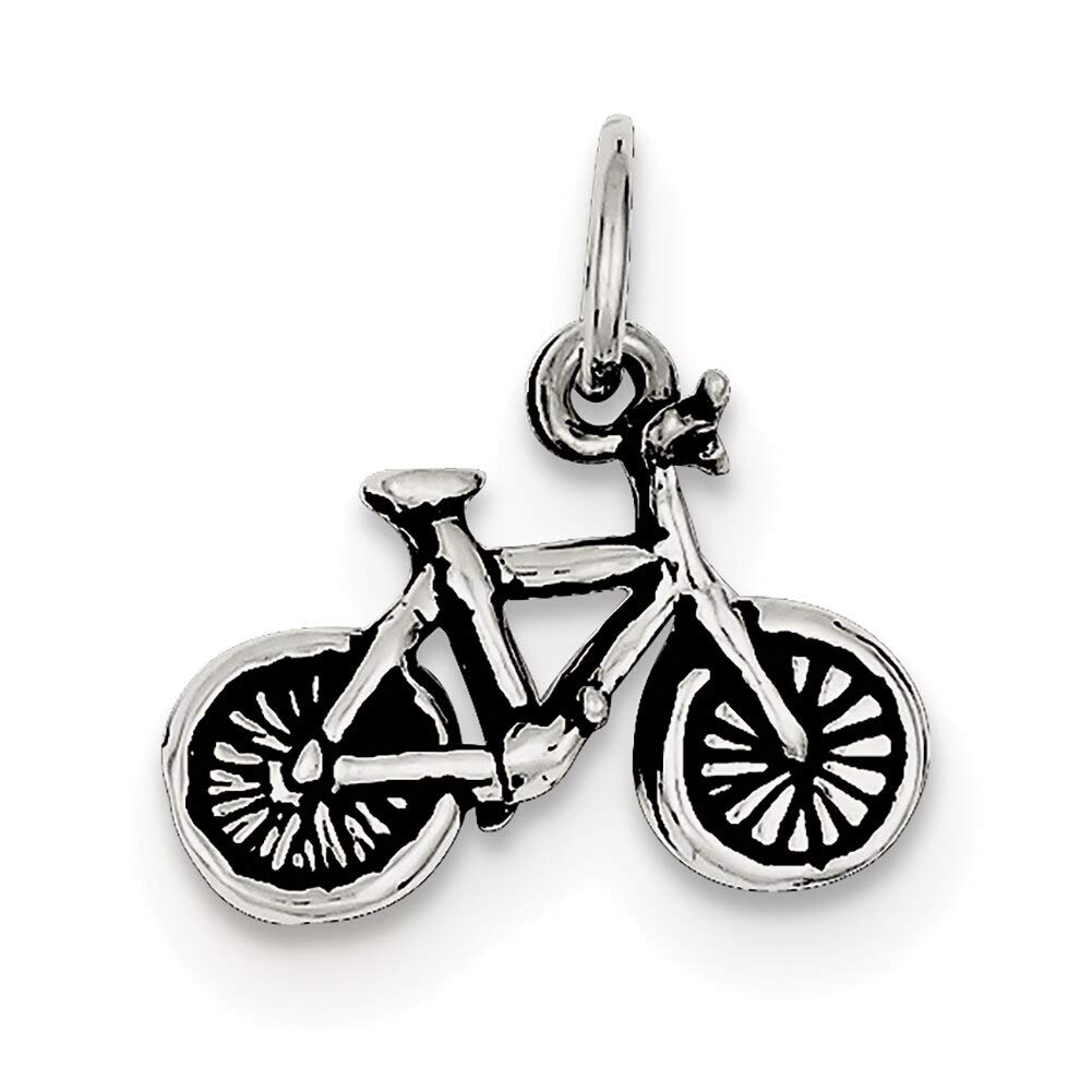 Lex /& Lu Sterling Silver Antiqued Bicycle Charm