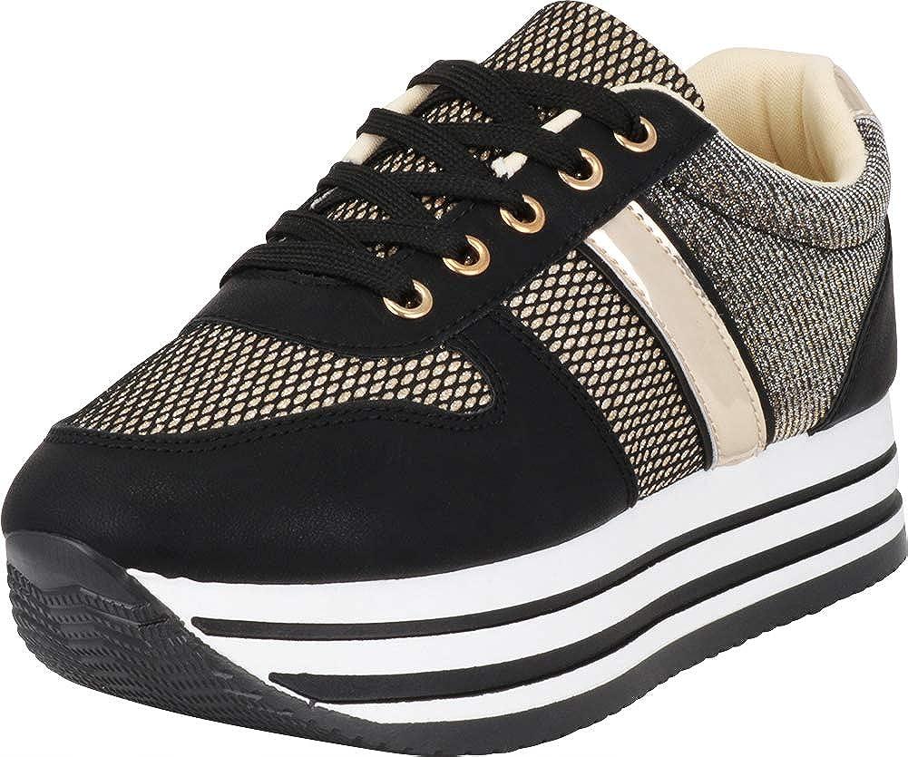 gold Black Cambridge Select Women's Low Top Retro 90s Glitter Lace-Up Chunky Stripe Flatform Platform Fashion Sneaker