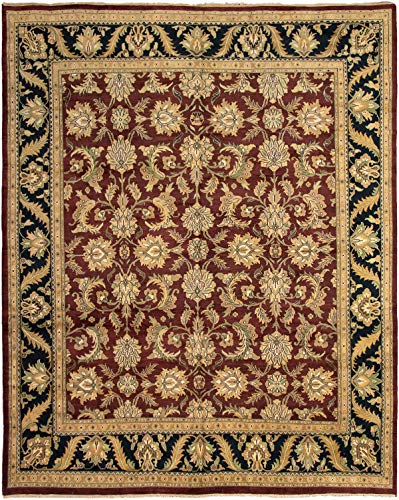 eCarpet Gallery Large Area Rug for Living Room, Bedroom | Hand-Knotted Wool Rug | Jaipur Bordered Red Rug 11'10