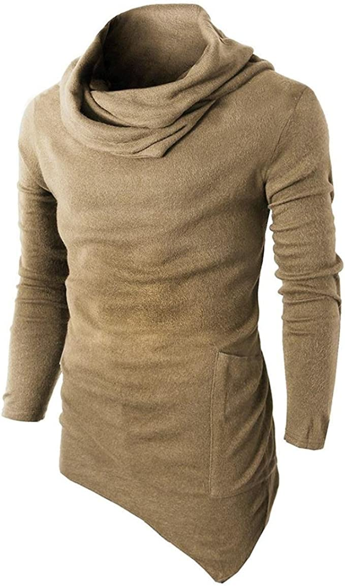 Lange Patchwork Sweatshirt Muskel Blusen Irregulär Shirt Hemd YunYoud Männer Slim Mode Tops Fit Herren T Einfarbig Tuetleneck Pullover Ärmel Beiläufig N0v8wmn