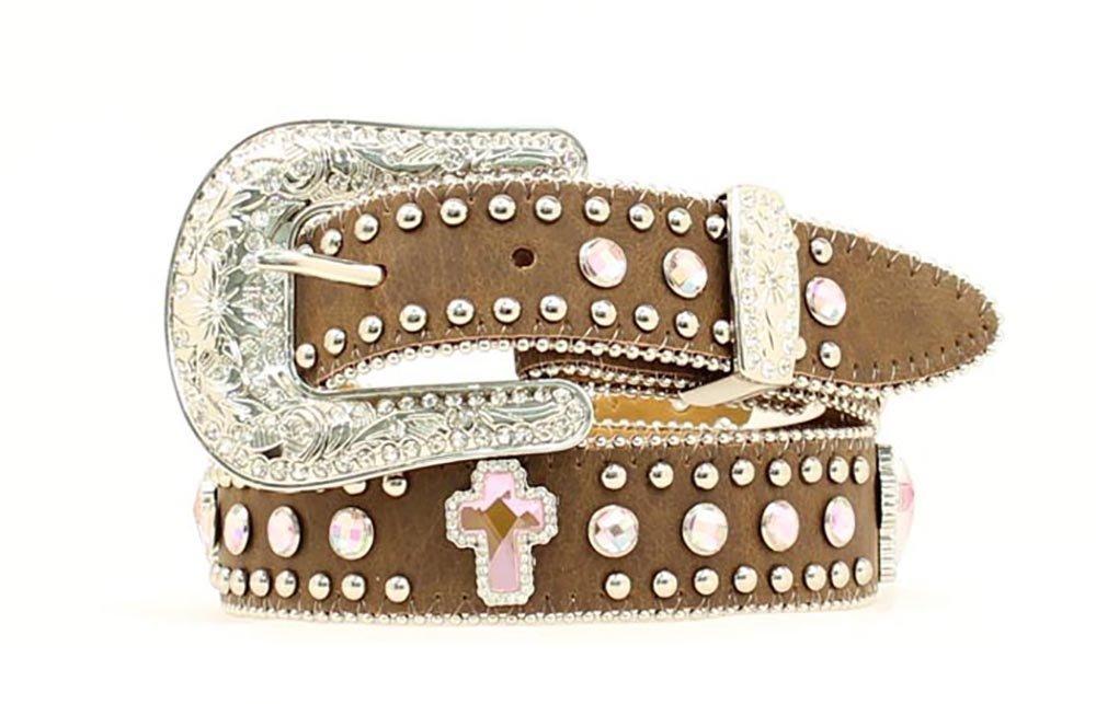 Nocona Girls' Rhinestone Cross Leather Belt - 24''