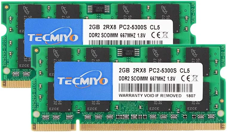 TECMIYO 4GB Kit (2x2GB) DDR2 Sodimm 667Mhz PC2-5300 PC2-5300S Non ECC Unbuffered 1.8V CL5 2RX8 Dual Rank 200 Pin Laptop Notebook Computer Memory Ram Module