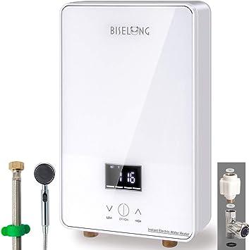cocina ba/ño Calentador de agua caliente Mini calentador de agua el/éctrico instant/áneo sin tanque enchufe de la UE 220 V 3000 W lavado blanco