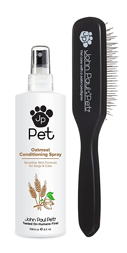 John Paul Pet Bonus Pack, Oatmeal Conditioning Spray for Dogs and Cats with Grooming Brush