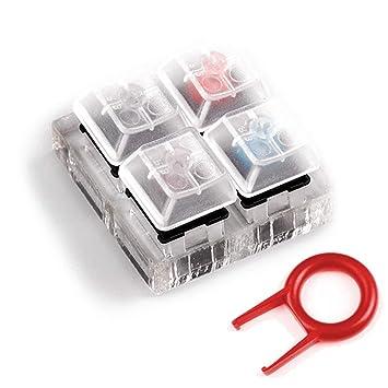 Acoser Cherry MX Switch Tester Teclados mecánicos Base acrílica de 4 Teclas,Extractor de Teclado