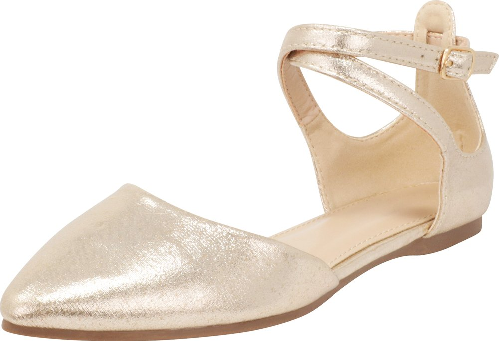 Cambridge Select Women's Closed Pointed Toe D'Orsay Crisscross Strap Ballet Flat B07F6JTBWN 6 B(M) US|Light Gold