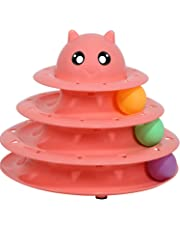 Cats Toys Ball Tower Cat Fun 3-Level Tower Ball & Track Indoor Cats Pet Roller Ball Cat Play Super Roller Super Fun PP Material More Durable Stronger … (Red)