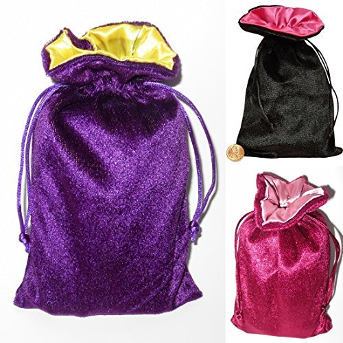 Satin and Velvet Tarot Bag Trio Bundle: Black/pink and Wine/rose and Purple/yellow (5 X 8)