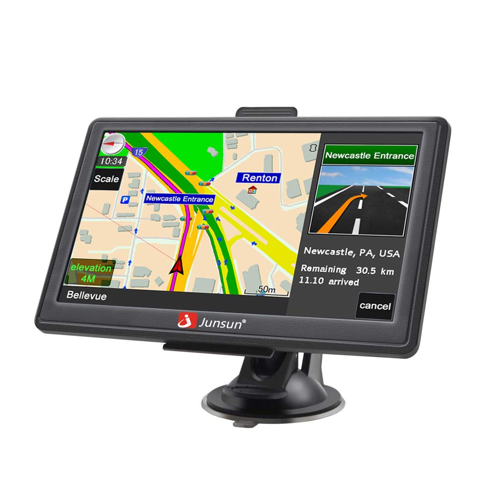Car GPS,7-Inch Touch Screen GPS Navigation for Car,Real Voice Direction GPS Navigation System Built-in Lifetime Maps(2019) by junsun