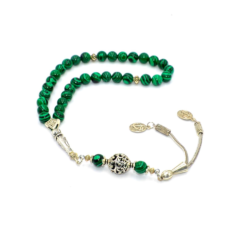 Elegant Design Green Malachite Prayer Beads with Special Metal Tassel (8mm -Round) (33 Beads) Tesbih-Tasbih-Tasbeeh-Misbaha-Masbaha-Subha-Sebha-Sibha-Rosary-Worry Beads - Free Gift Box